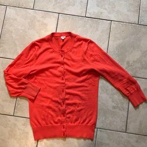 JCrew 3/4 Length Sleeve Orange Cardigan